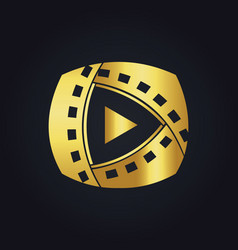 Play film media technology gold logo vector