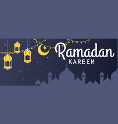 Ramadan kareem horizontal banner vector
