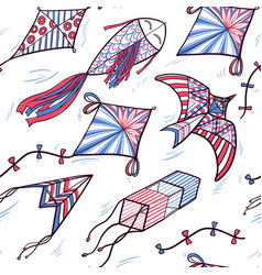 seamless pattern of sketch doodle style kites vector image vector image