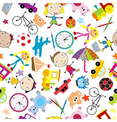 Seamless pattern with toys background for kids vector