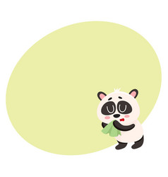 Sick panda having cold flu blowing its nose into vector