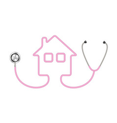 stethoscope in shape of house in pink design vector image