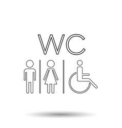 Wc toilet line icon men and women sign for vector