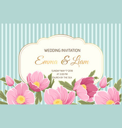 Wedding invitation anemone hellebore pink flowers vector