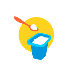 yogurt full cap with a spoon above vector image