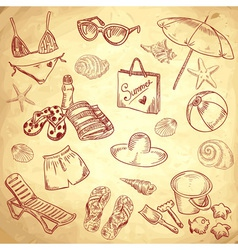Hand drawn retro icons summer beach set vector