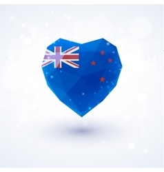 New zealand flag in shape diamond glass heart vector