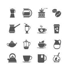 Coffee cup and tea icons vector