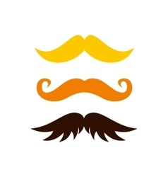 Three kind of moustache icon flat style vector