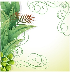 A white paper with green plants vector