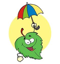 Happy Green Leaf With Umbrella vector image