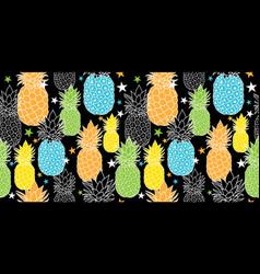 Fun pineapples repeat seamless pattrern in vector