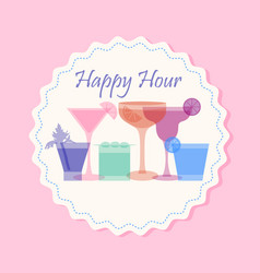 happy hour cocktail banner vector image