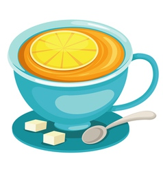 Tea cup with lemon vector