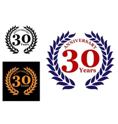 Laurel wreath with 30 years anniversary vector image