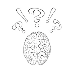 Brain with question mark and exclamation mark vector