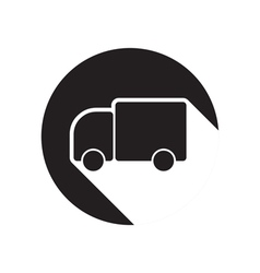 Black icon with lorry and shadow vector