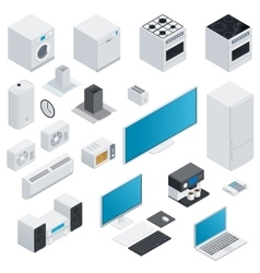 Household appliances isometric set vector