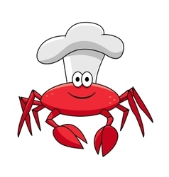 Cartoon smiling crab chef in white cook hat vector