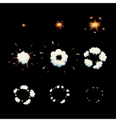 Explode effect animation cartoon explosion frames vector