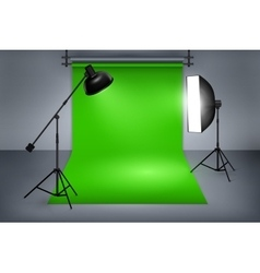 Film studio with green screen vector
