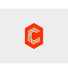 Letter c logo icon design creative line vector