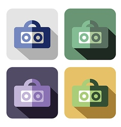 Set of colorful icons of tape recorder vector