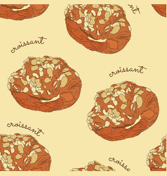 almond croissant hand draw seamless pattern vector image vector image