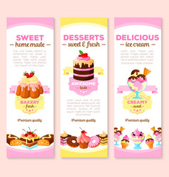 banners of dessert cakes and pastry sweets vector image