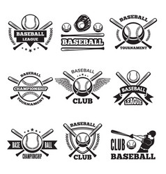 baseball logos set in style vector image vector image
