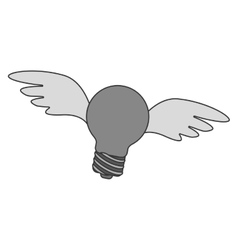 Bulb light with wings vector