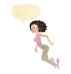 Cartoon flying woman with speech bubble vector
