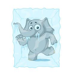 Character elephant frozen in ice cartoon vector