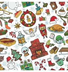 Christmas season doodle symbols seamless pattern vector image vector image