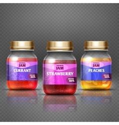 Closeup glass jar with jam marmalade label and vector