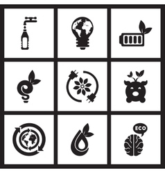 Concept flat icons in black and white ecology vector