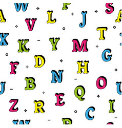 doodle hand drawn letters seamless pattern vector image