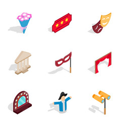 Entertainment icons isometric 3d style vector