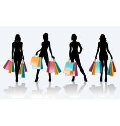 Female black silhouette with shopping bags vector