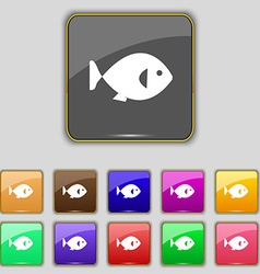 Fish icon sign set with eleven colored buttons for vector