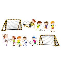 football goal and boys playing ball vector image vector image
