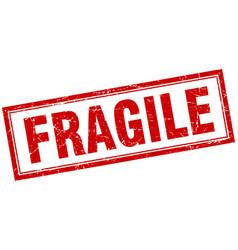 Fragile red square grunge stamp on white vector