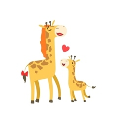 Giraffe Mom With Lipstick Animal Parent And Its vector image vector image