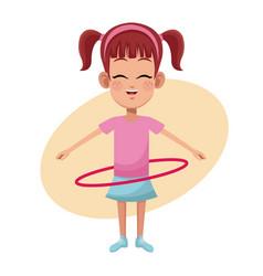 Girl hula hoop practice vector