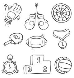 Hand draw sport equipment doodles vector