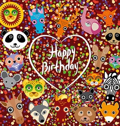 Happy birthday funny cute animal face on a brown vector image vector image