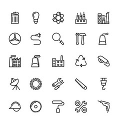 industrial line icons 1 vector image