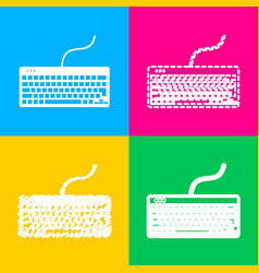 Keyboard simple sign four styles of icon on four vector