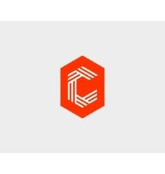 Letter c logo icon design creative line vector