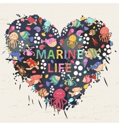 Marine life heart vector image